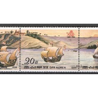 Корея КНДР 1988 ** Корабли Парусники Личности Колумб серия сцепка MNH