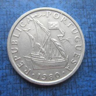 монета 5 ишкуду Португалия 1980 корабль парусник