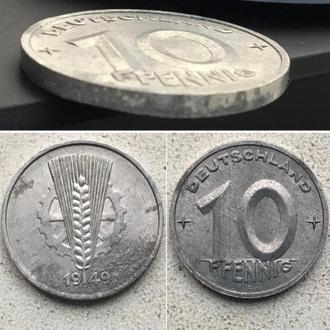 Германия - ГДР 10 пфеннигов, 1949г. Период Восточная Германия (ГДР) (1948 - 1990)