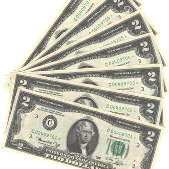 2 доллара США 1976г. купюра замещения* в UNC из пачки