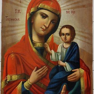 """Икона. """"Богоматерь с младенцем Тифинская""""."""