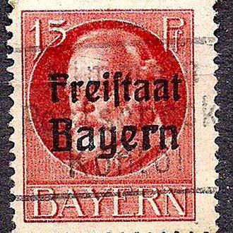 Бавария, немецкие земли, 1916-20 гг., стандарт, король Людвиг 3 с надпечаткой