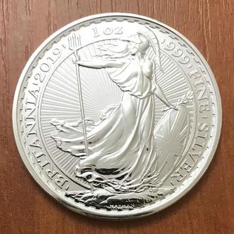 "Великобритания - 2 фунта 2019 ""Британия / Britannia"" Серебро Ag 999 -  UNC"