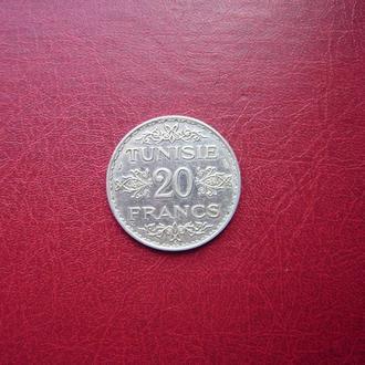 Тунис 20 франков 1934 Редкая. серебро