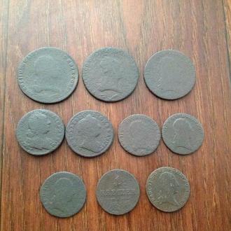 Австро-Венгрия, 10 нечищенных монет одним лотом.
