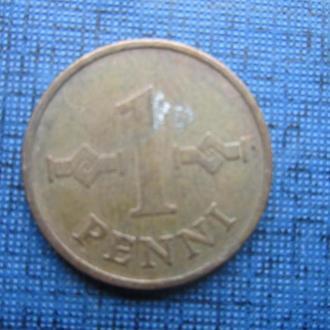 Монета 1 пенни Финляндия 1968