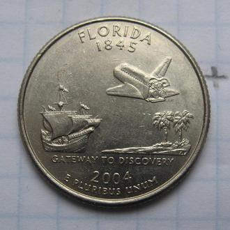 "США, 25 центов 2004 года (ФЛОРИДА) ""Р""."