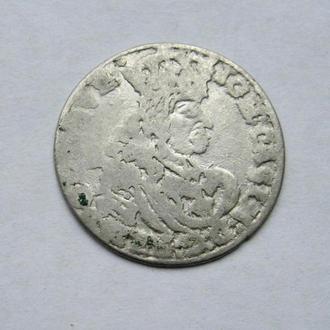 ШЕСТАК = ЯН КАЗИМИР = 1662 г. - ТТ = ПОЛЬША = серебро
