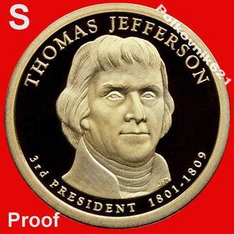 США, 1 доллар 2007 года, 3-й президент, двор S (W8275). PROOF!