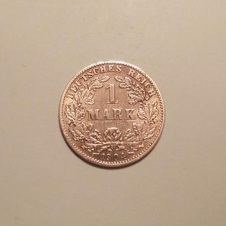 Германия  1 марка 1904 J Серебро