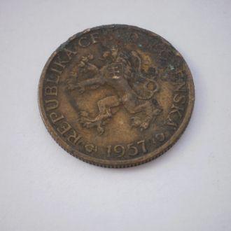 Європа стара Чехословакія Чехія Словакія. Монета післявоєнного зразка 1957 рік. Старий Герб.