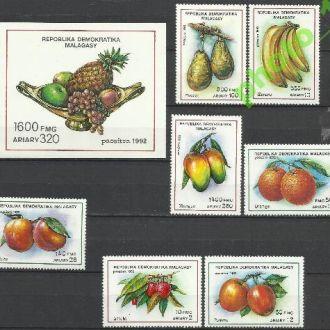 Мадагаскар 1992 фрукты 7м.+бл.**