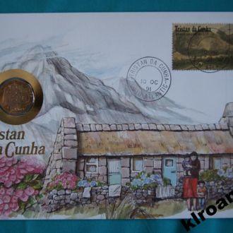 Тристан да Кунья 25 пенсов 1989 г UNC + конверт