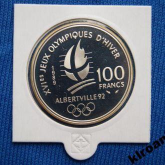 Франция 100 франков 1989 Олимпиада СЛАЛОМ СЕРЕБРО