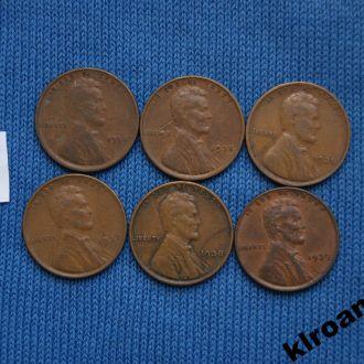 США 1 цент 1934 1935 1936 1937 1938 1939 г