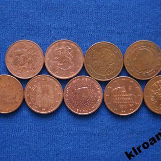 Набор 5 евроцентов ЛЮКС  9 шт все разные
