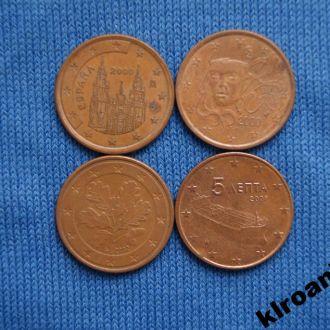 5 евроцентов  Набор 4 шт все разные
