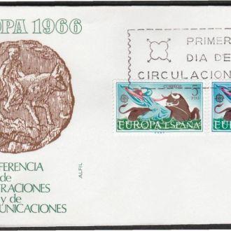 Испания 1966 ЕВРОПА-СЕПТ VII ПОЧТОВАЯ КОНФЕРЕНЦИЯ ПОЧТА КОРРИДА БЫК МОНЕТА КПД Mi.1642-3
