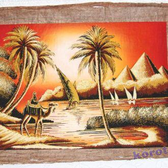 Папирус из Египта 63х44 см Пирамиды верблюд пальмы