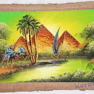 Папирус из Египта 62х42см Пирамиды верблюды пальмы