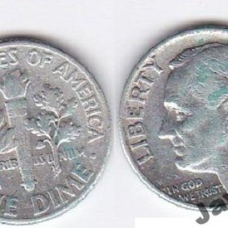 USA США - 1 Dime 1956 серебро JavirNV