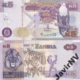 Zambia Замбия - 5 Kwacha 2012 UNC JavirNV