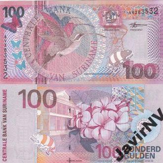 Suriname Суринам - 100 Gulden 2000 UNC JavirNV