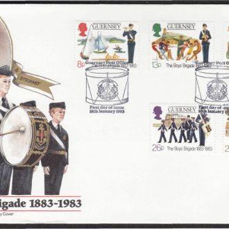 Гернси 1983 ПОДРОСТКОВАЯ БРИГАДА СКАУТЫ МОЛОДЁЖНАЯ ОРГАНИЗАЦИЯ СЛЁТ СПОРТ МУЗЫКА КПД Mi.260-264
