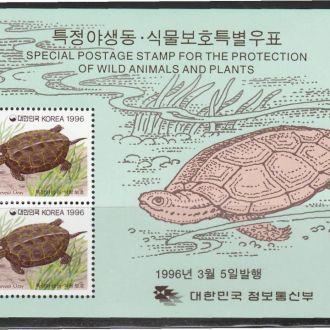 Корея 1996 ЧЕРЕПАХА ЯЩЕРИЦА ЗЕМНОВОДНЫЕ АМФИБИИ ЖИВОТНЫЕ ФАУНА Два Mi.1675-1676 Block 619-620**
