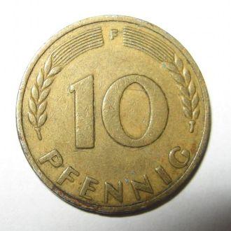 10 пфенигов. F. Штутгарт 1949 г. Банк немецкой...