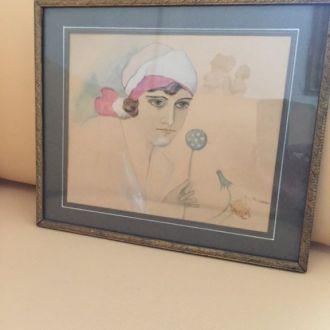 """Картина """"портрет дамы"""", Польша, подписная."""