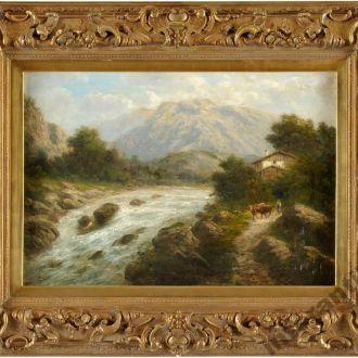 картина оригинал пейзаж Горный ручей Rose Julius