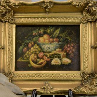 картина натюрморт масло дерево рама Англия