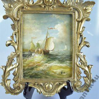 картина парусник корабль море масло дерево рама
