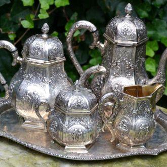Серебряный кофейный набор чайный сервиз серебро