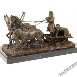 статуэтка ямщик бронза русский мотив скульптура