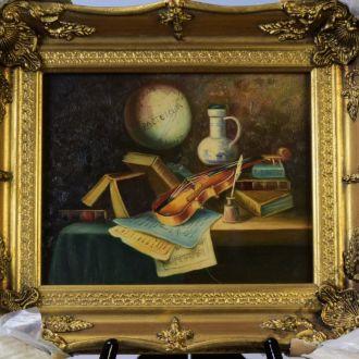 картина натюрморт скрипка масло дерево рама Англия