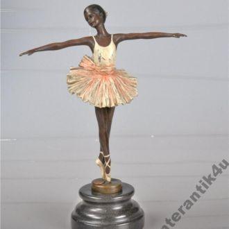 большая фигурка статуэтка балерина цветная бронза.Доставка бесплатно !