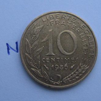 Франция, 10 сантимов 1986 г.