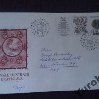 конверт Чехословакия птицы дракон