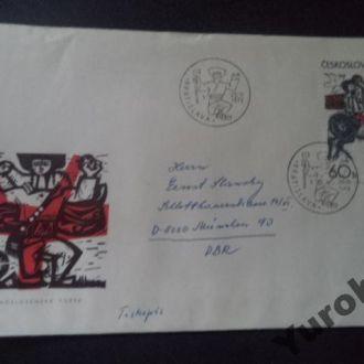 конверт Чехословакия картины птицы