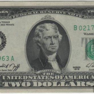 2 доллара США 1976г. в UNC из пачки