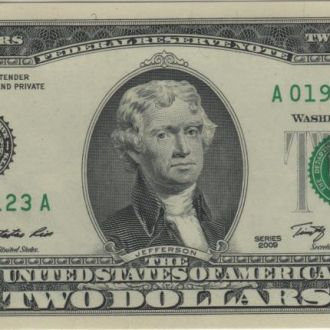 2 доллара США 2009г. в UNC из пачки