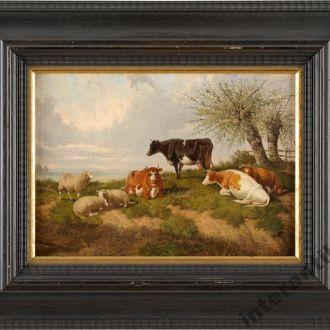 оригинал пейзаж картина корова природа масло