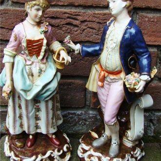 Фарфор статуэтка кавалер и дама  Германия 38 см! Доставка бесплатно !