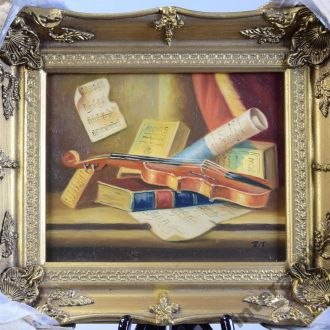 скрипка картина натюрморт масло дерево рама Англия