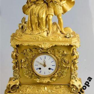 Каминные часы 1830-70 г Франция бронза позолота