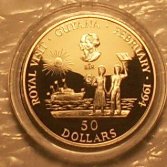 50 долларов 1994г. Гайана. Ag 28.28г 925 пр. ПРУФ.