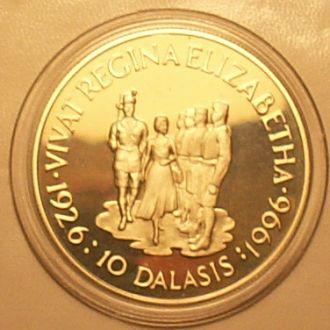 10 даласи 1996 г. Гамбия. 28.28 г. Ag 925 пр.Пруф.