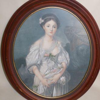 Большая гравюра портрет Девушка с цветами